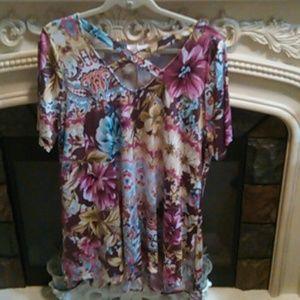 2X Wild Bohemian Rhapsody Tie Dye Floral Tunic